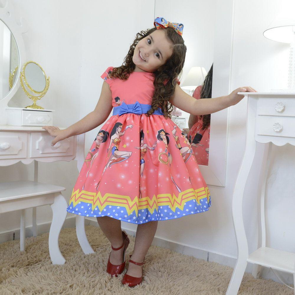 Vestido infantil festa da Mulher-Maravilha - super-heroína