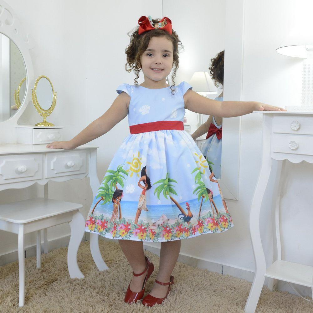 Vestido infantil festa da Princesa Moana baby