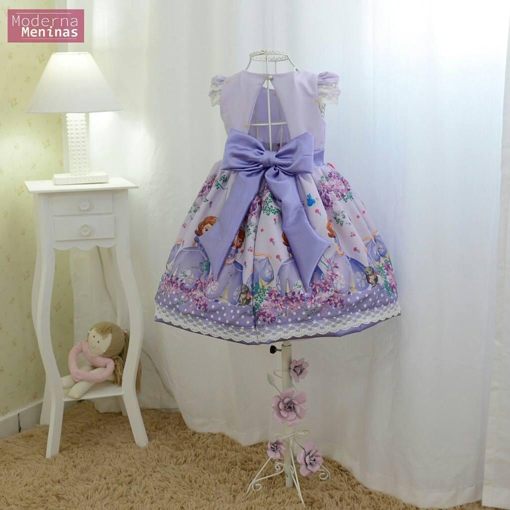 Vestido infantil festa da princesa Sofia