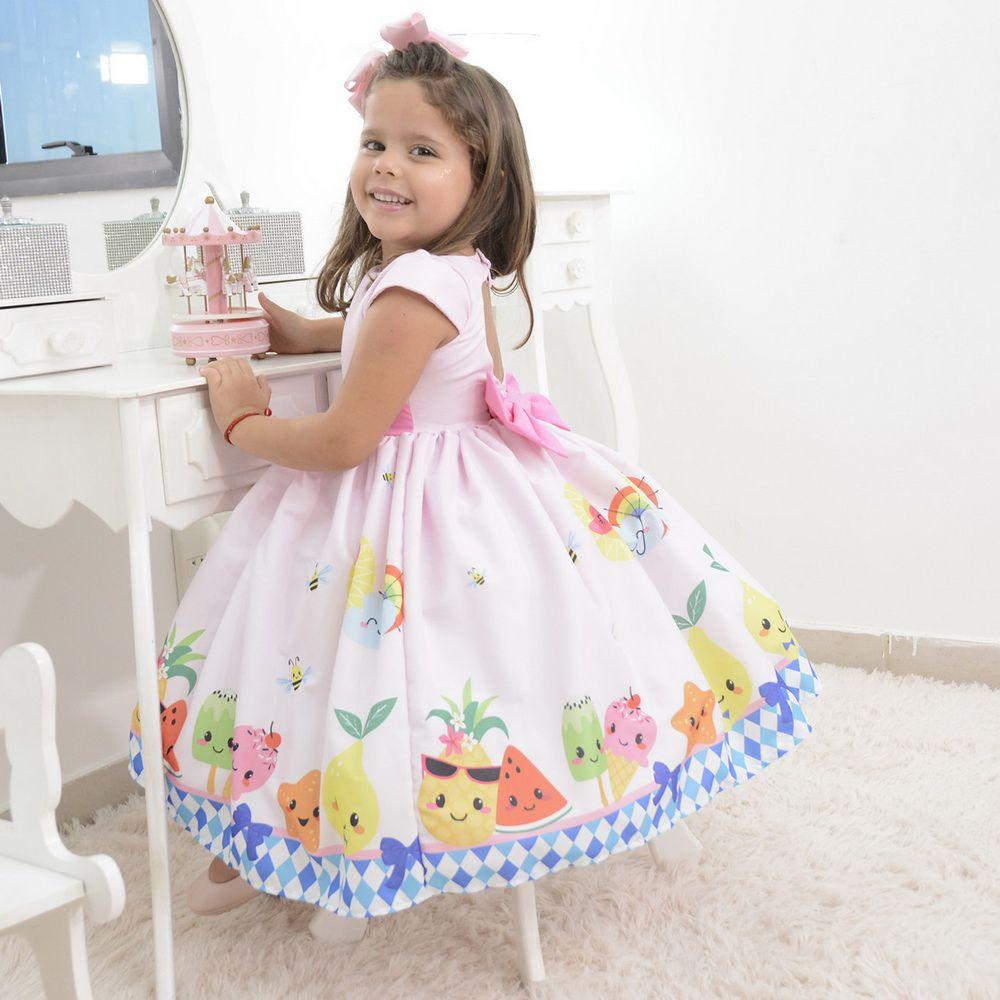 Vestido infantil festa das frutas, abelhinhas e sorvetes