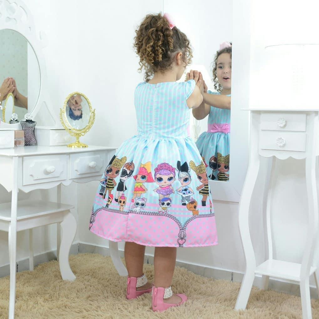 Vestido infantil festa das mínis bonecas Lol surprise