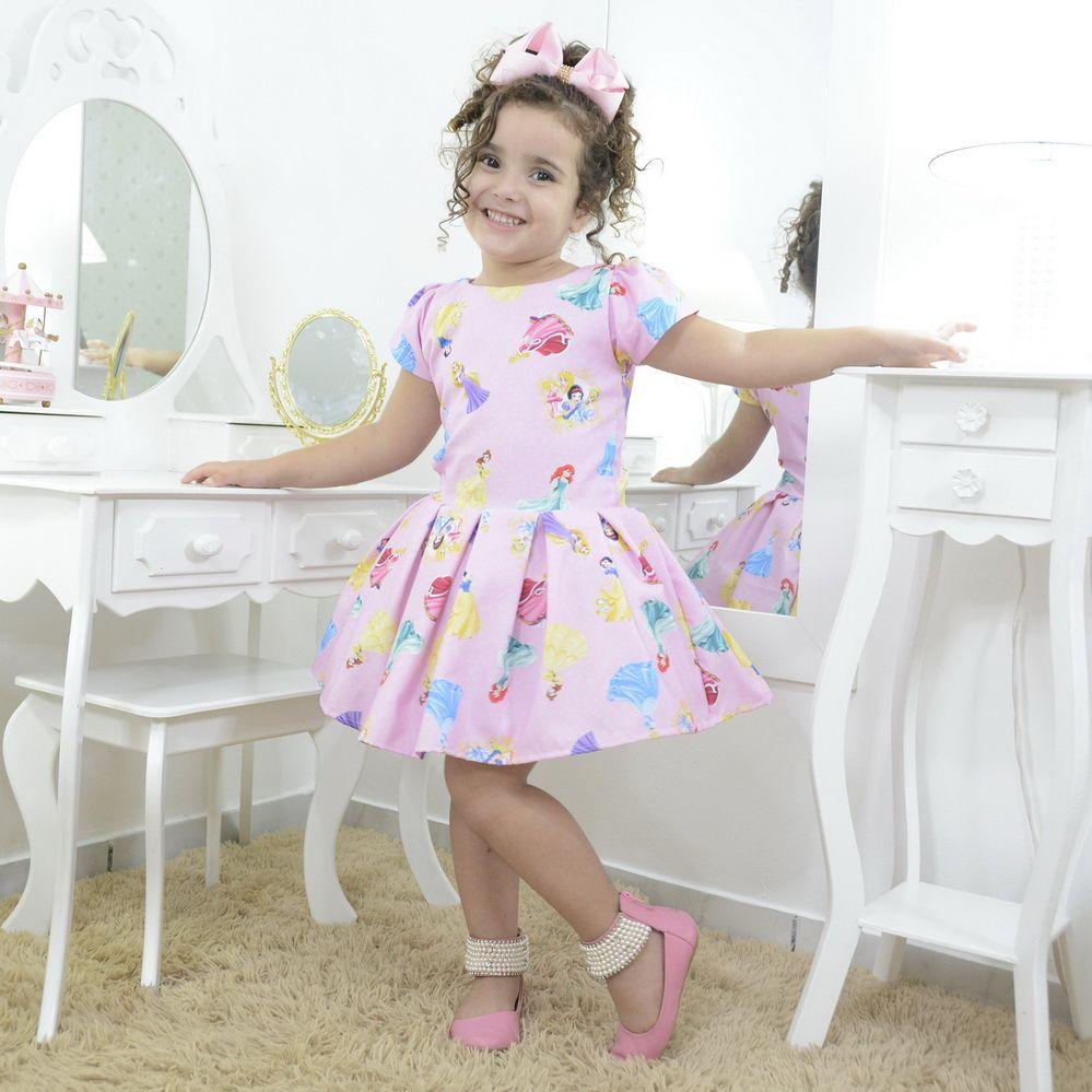 Vestido infantil festa das princesas da Disney - smart