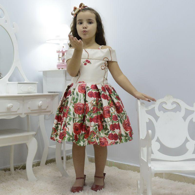 Vestido infantil festa floral bege off com rosas vermelhas