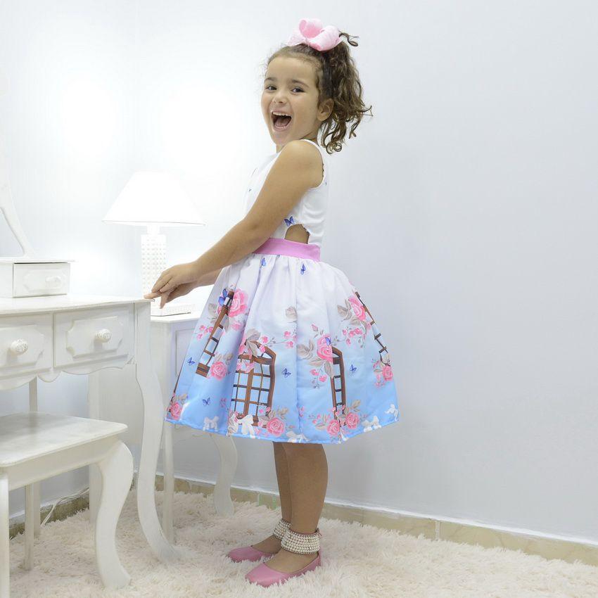 Vestido infantil festa floral com borboletas azuis