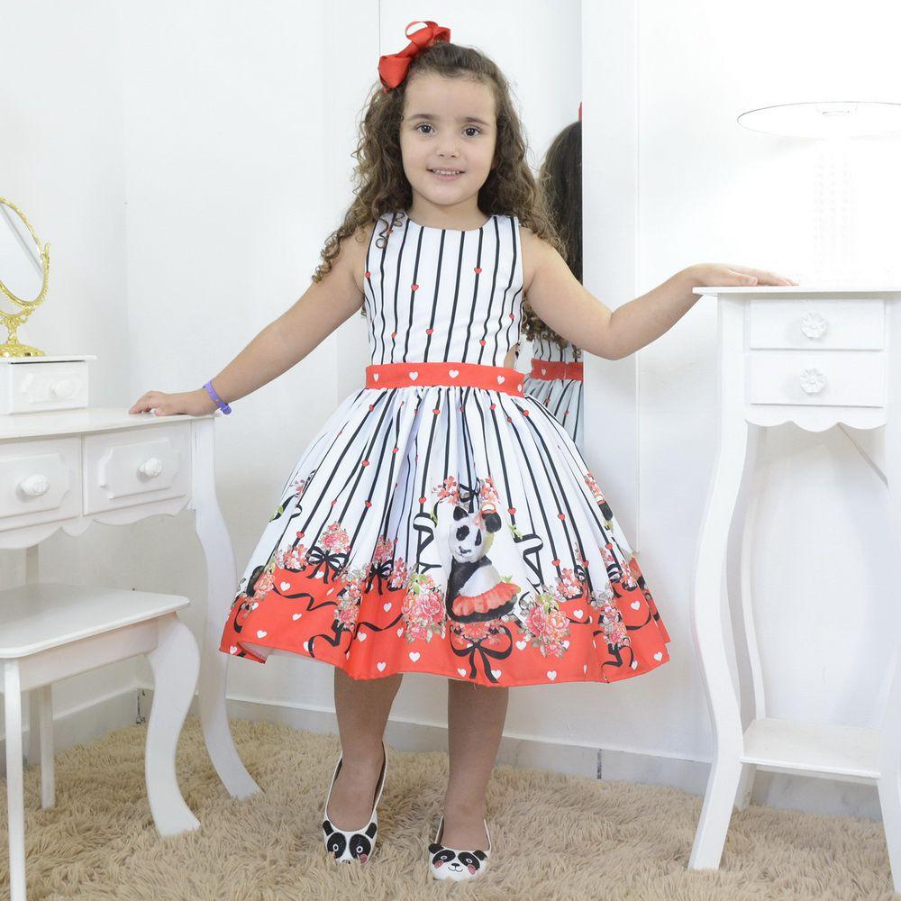 Vestido infantil festa floral e a panda bailarina