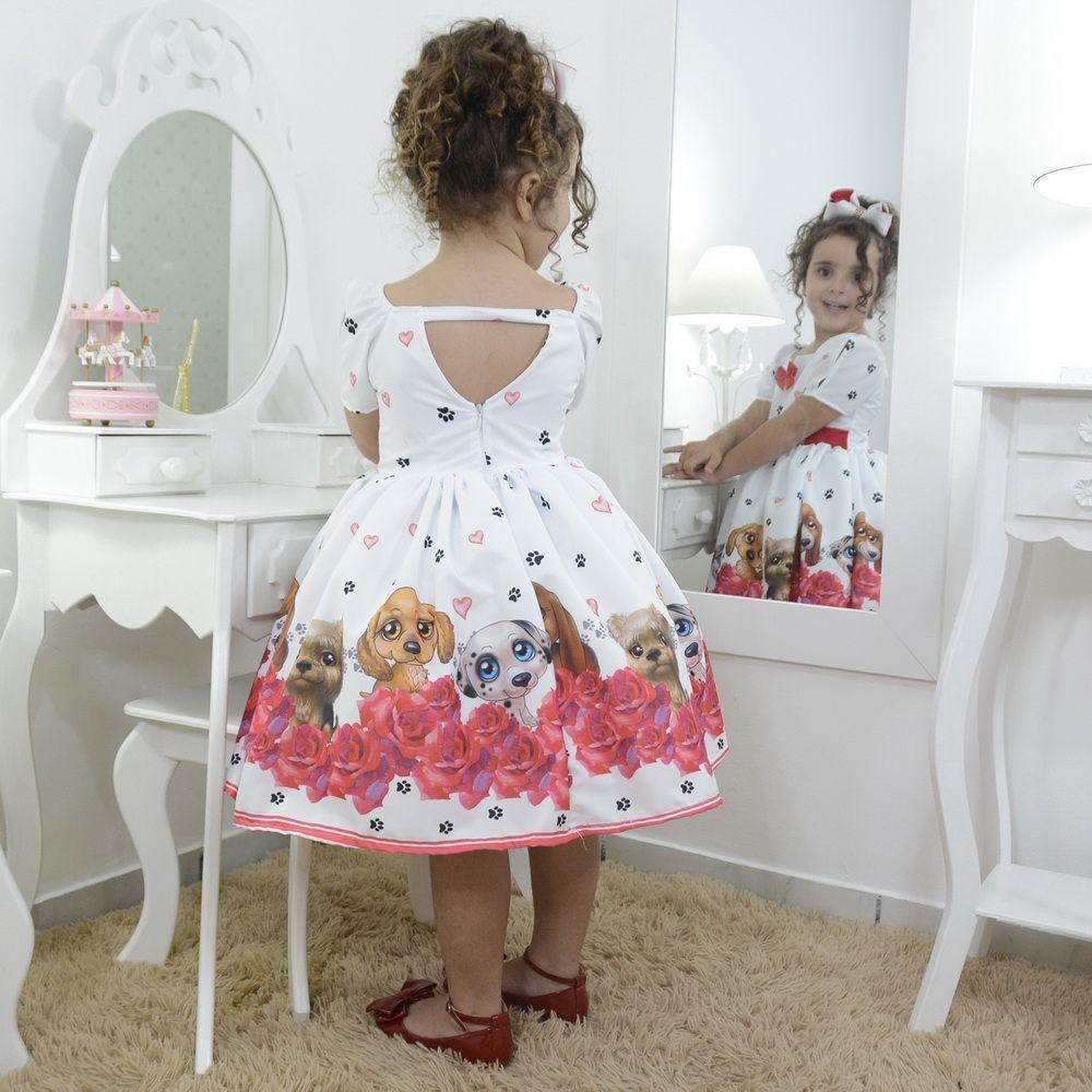 Vestido infantil festa floral e com cachorrinhos filhotes