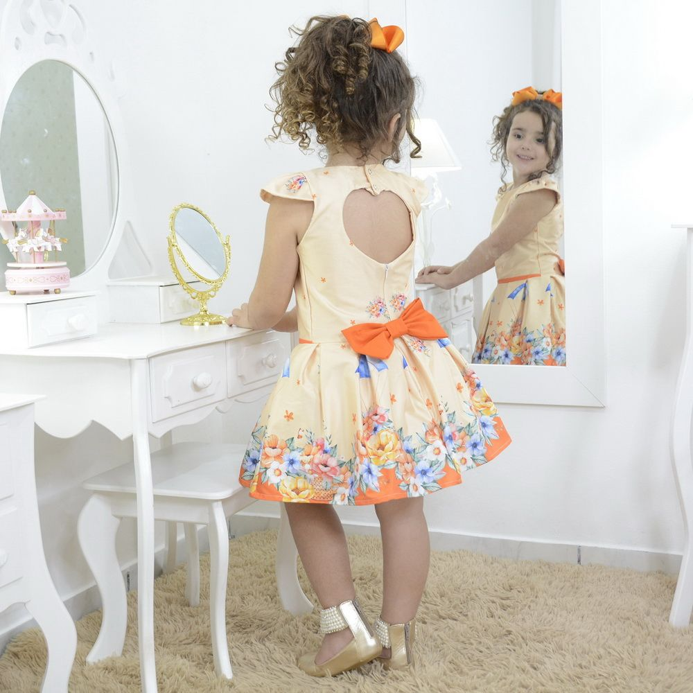 Vestido infantil festa floral jardim encantado laranja