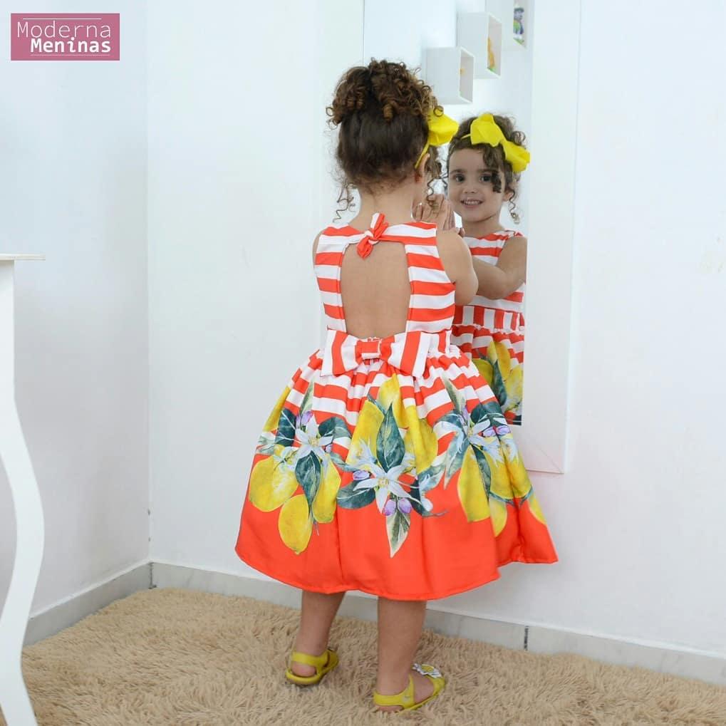 Vestido infantil festa floral laranja com frutas cítricas – Limão