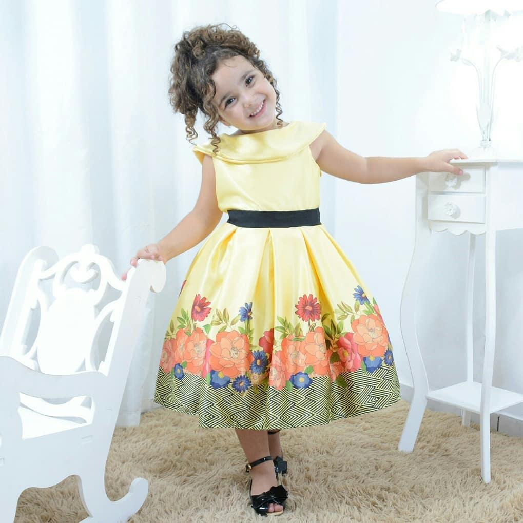 Vestido infantil jardim encantado floral com gola escafandro