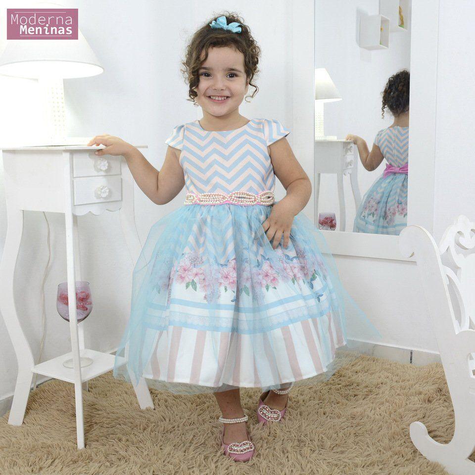 Vestido infantil jardim encantado floral azul tiffany e tule
