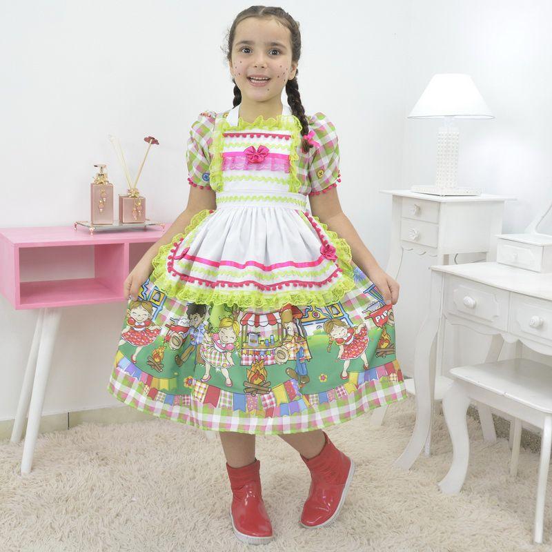 Vestido infantil Festa de São João - Quadrilha com Avental