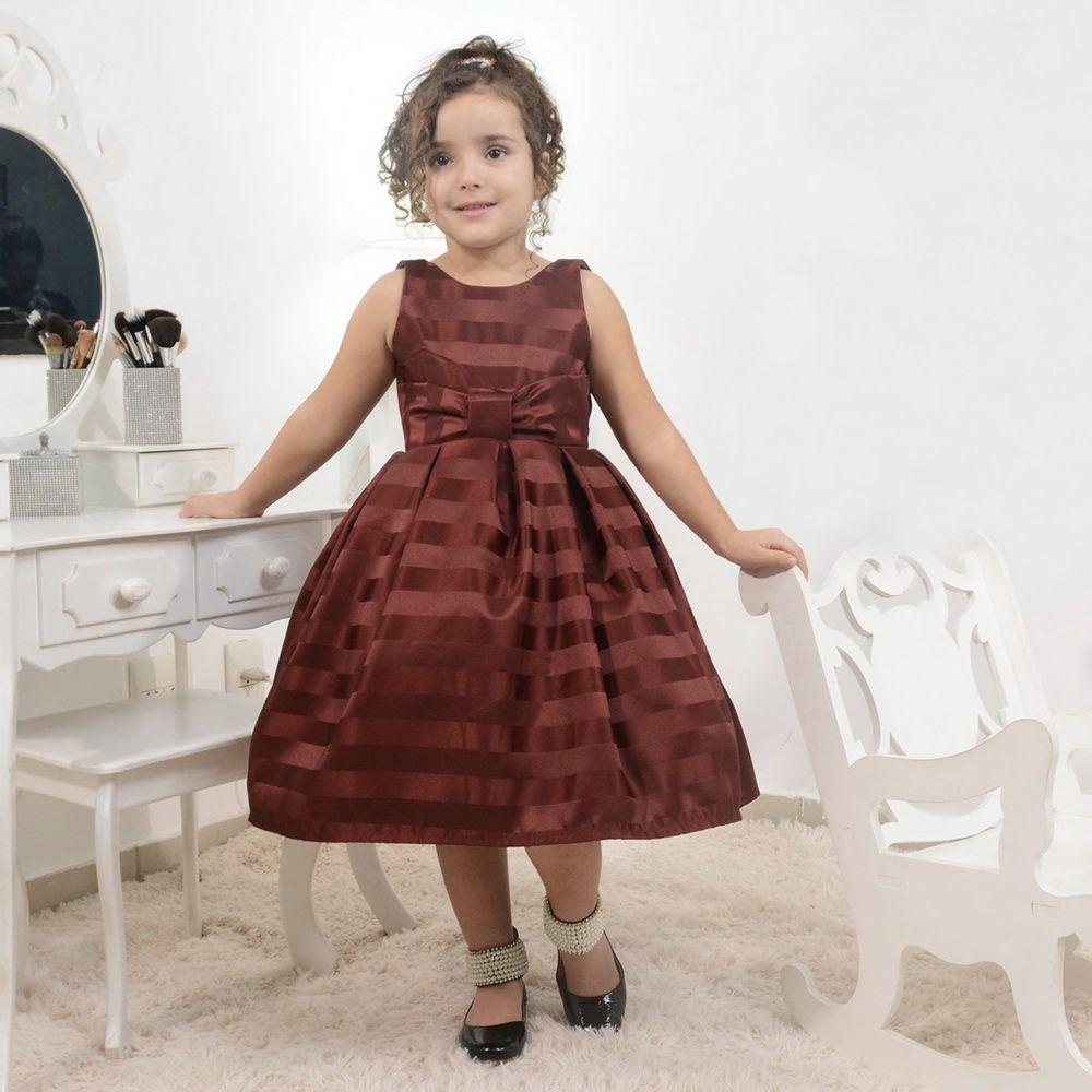 Vestido infantil festa na cor marsala