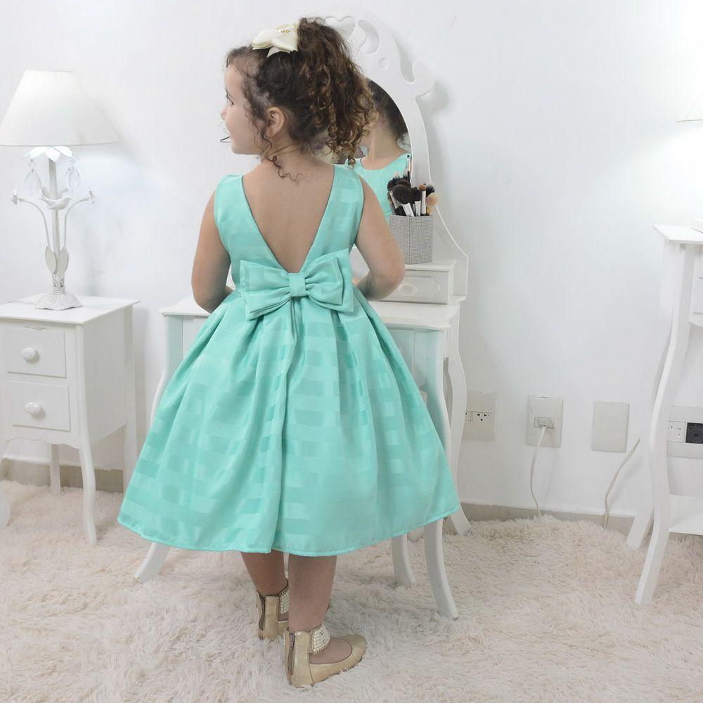 Vestido infantil festa na cor verde tiffany
