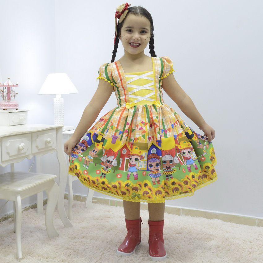 Vestido infantil da Lol Surprise Festa Junina de Quadrilha