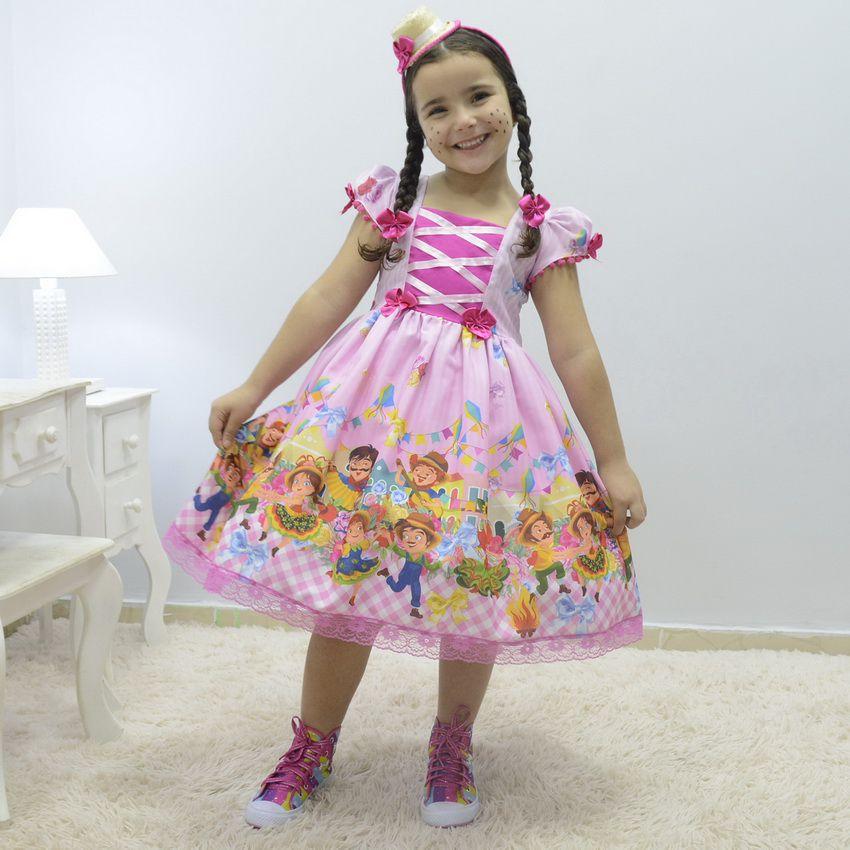 Vestido infantil festa São João de Quadrilha - Festa Junina