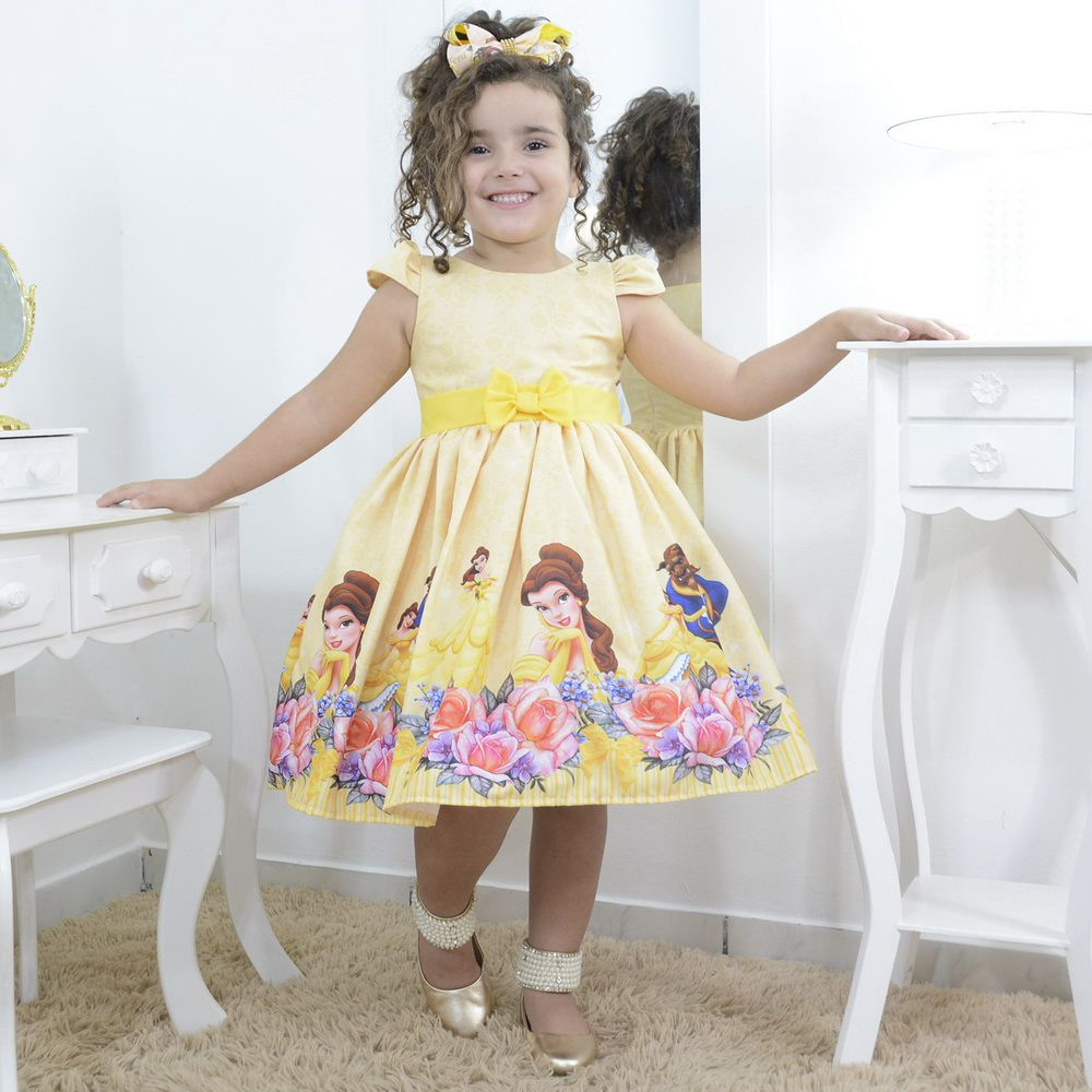 Vestido infantil festa tema da Bela e a Fera