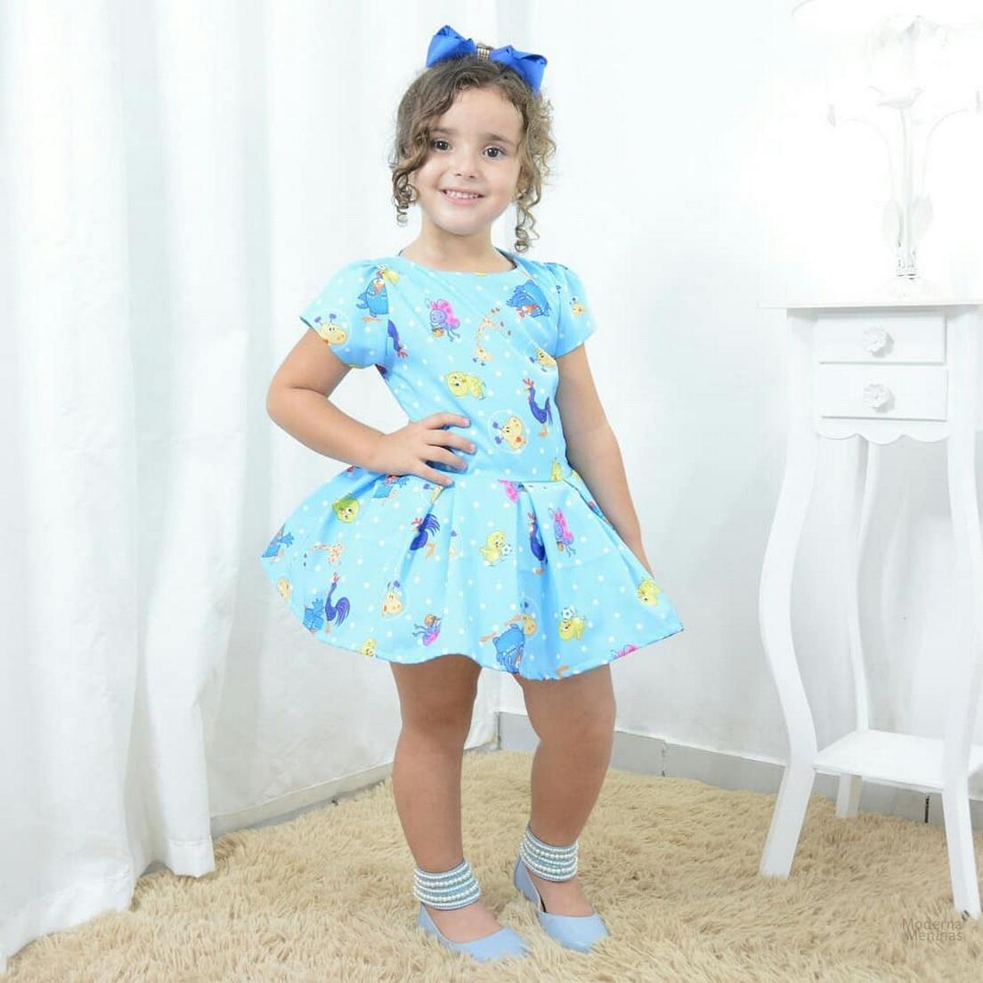 Vestido infantil festa tema da Galinha pintadinha e sua turma