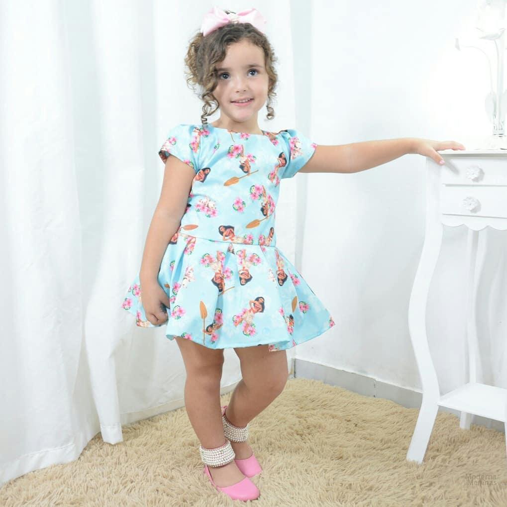 Vestido infantil festa tema da Moana e o PUA o porquinho