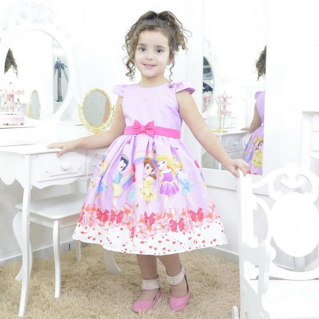 Vestido infantil festa tema princesas da disney baby