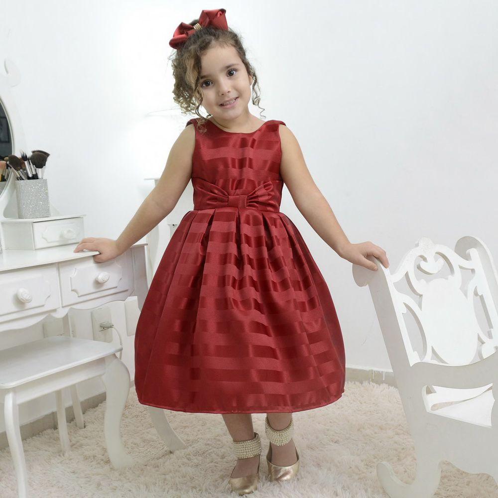 Vestido infantil festa vermelho bordo