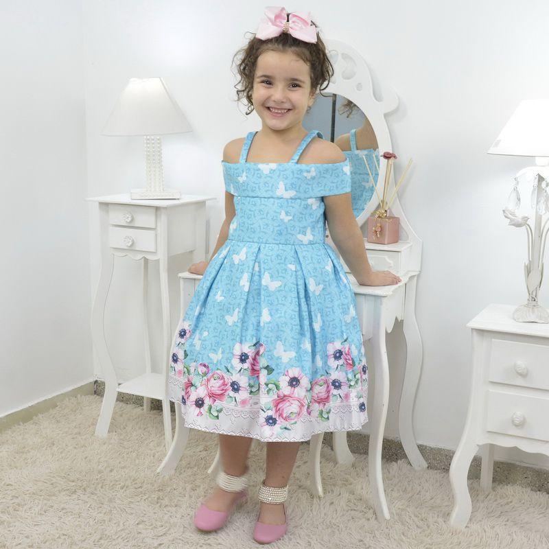 Vestido infantil floral azul com borboletas brancas