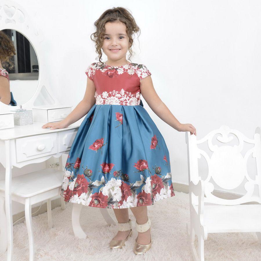 Vestido infantil floral azul com vermelho e laço bordado em perolas