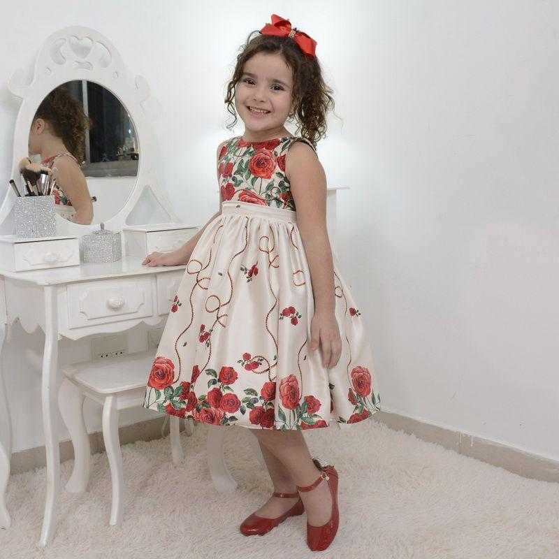 Vestido infantil floral bege off com rosas vermelhas