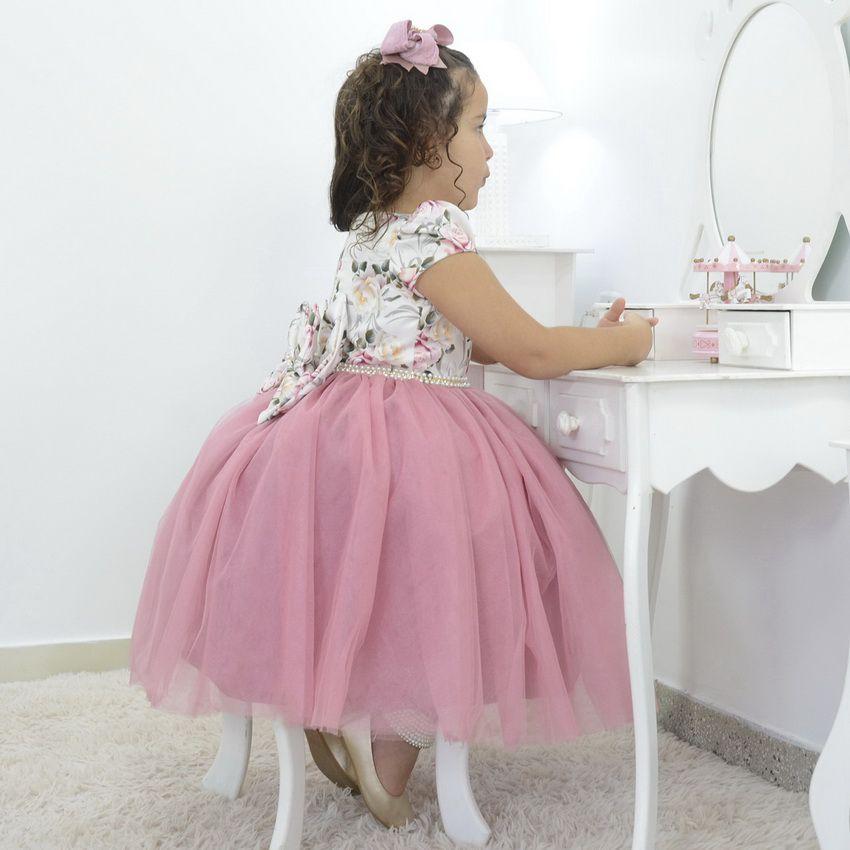 Vestido infantil Floral com saia de tule rosa seco