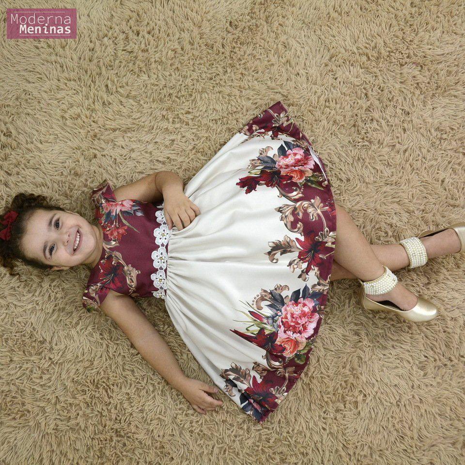 Vestido infantil floral vinho e off
