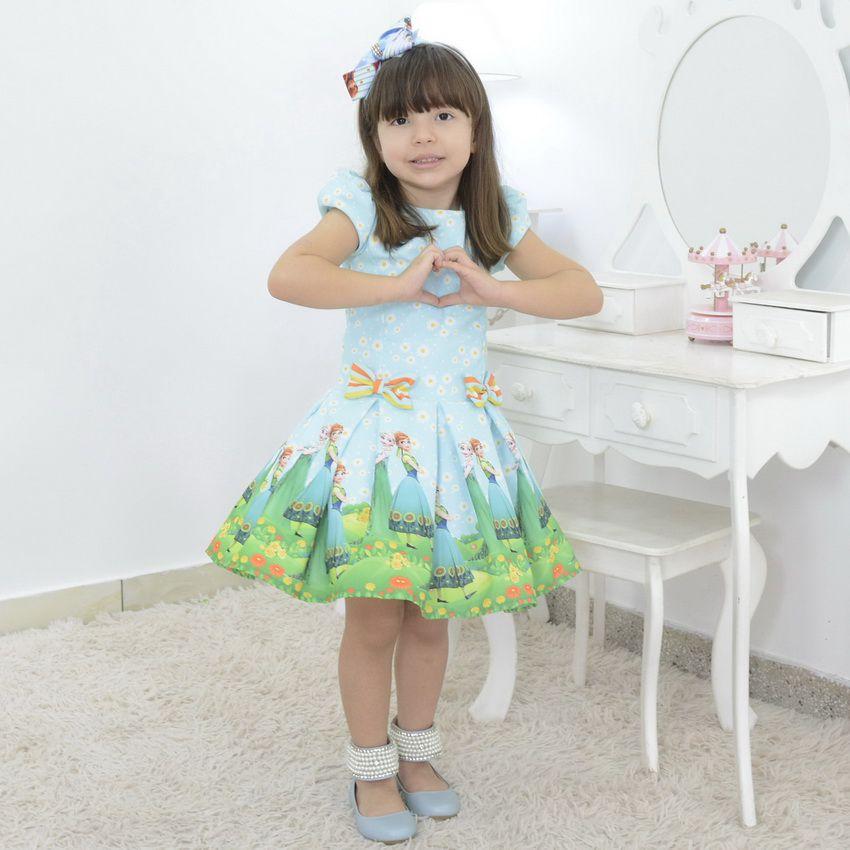 Vestido Infantil frozen fever girassol com a Ana e Elza