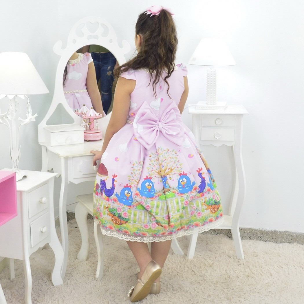 Vestido infantil Galinha Pintadinha Luxuoso Rosa