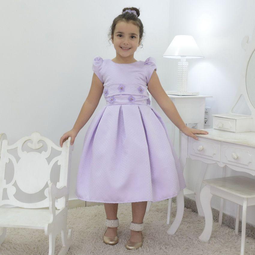 Vestido infantil Lilás festa