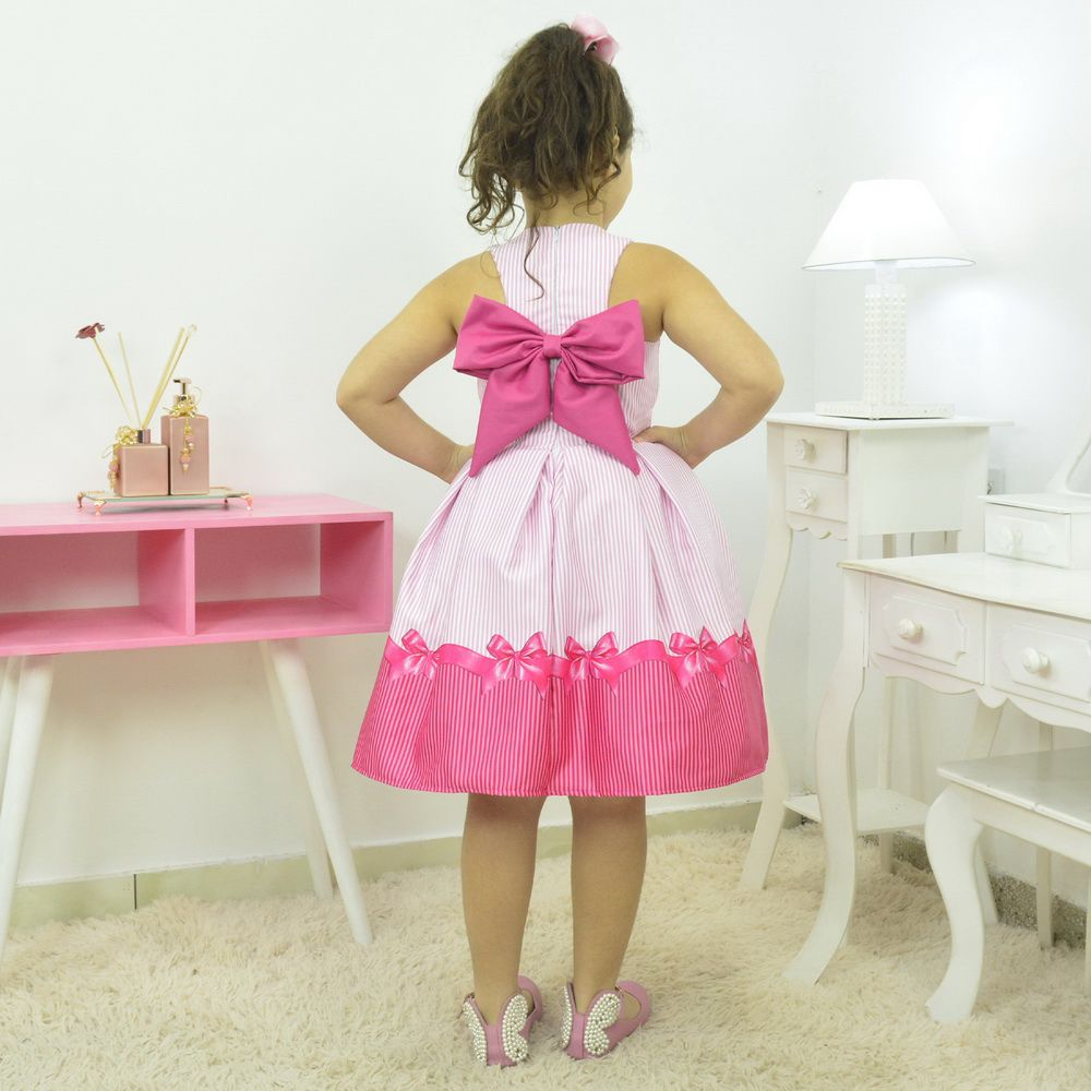 vestido infantil listrado tema  laço rosa pink