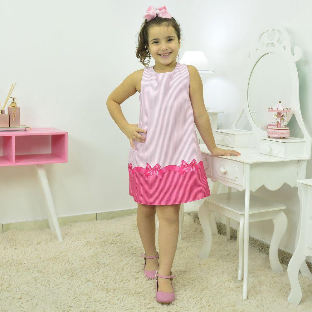 vestido infantil listrado tema laço rosa pink - Tubinho trapézio