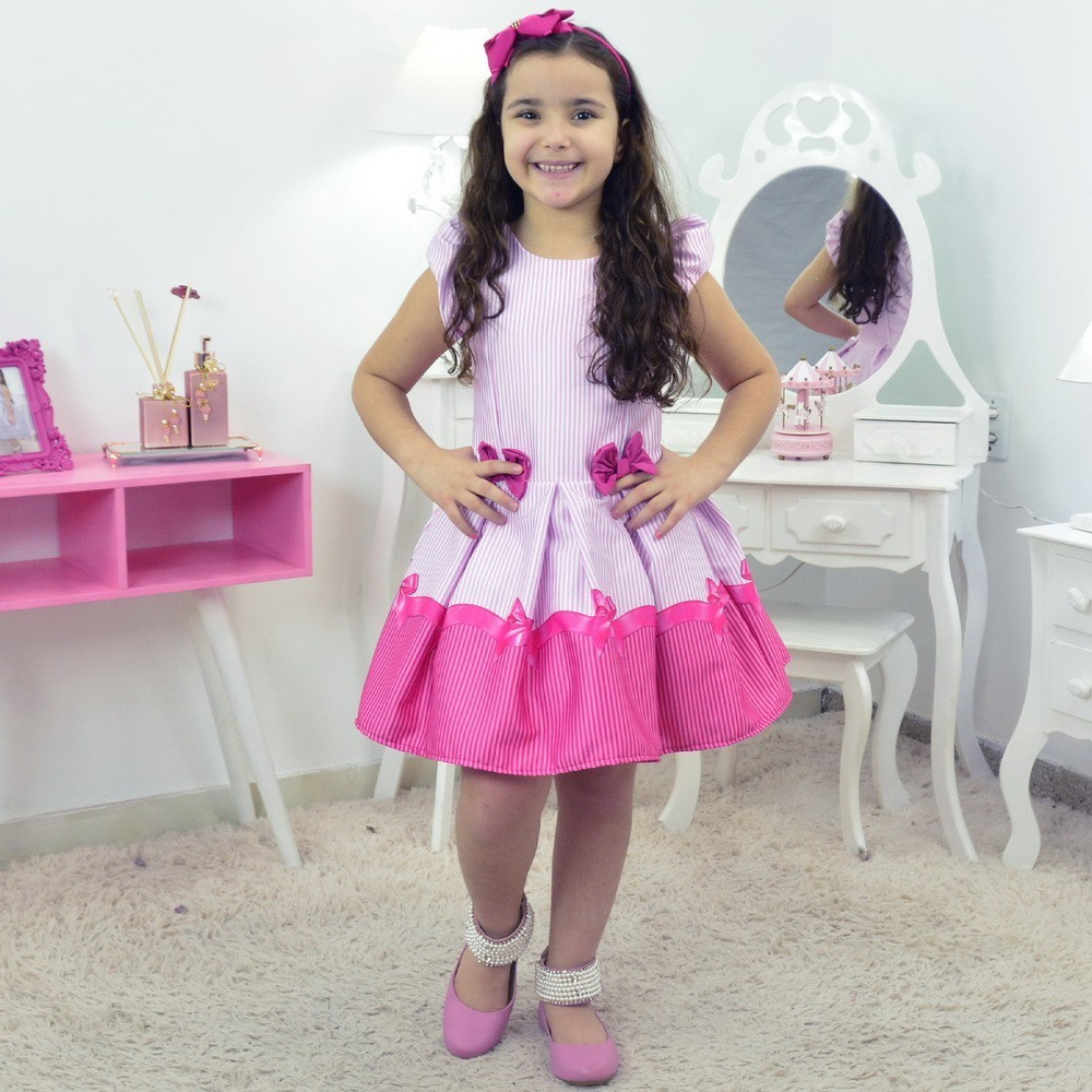 vestido infantil listrado tema laço pink rosa