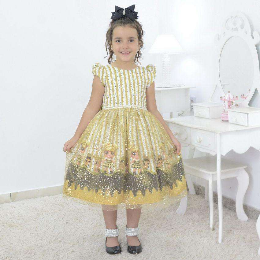 Vestido infantil bonecas Loll Queen Bee com tule francês e glitter