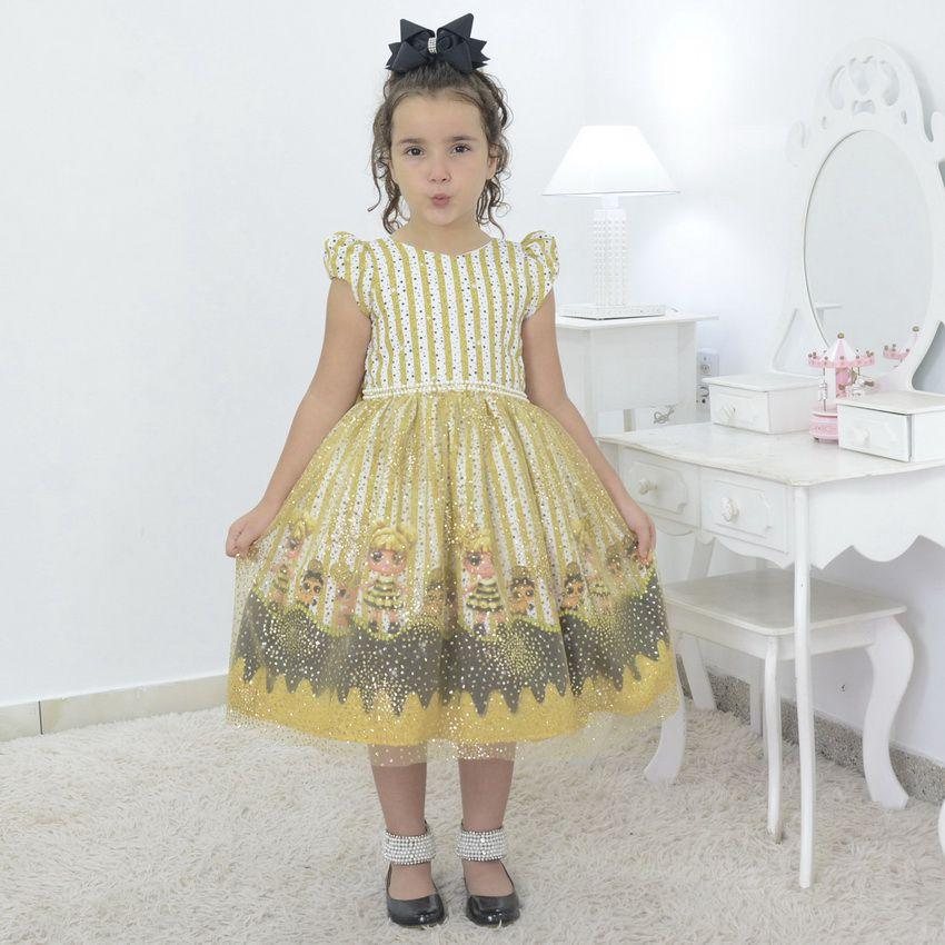 Vestido infantil bonecas Lol Queen Bee com tule francês e glitter