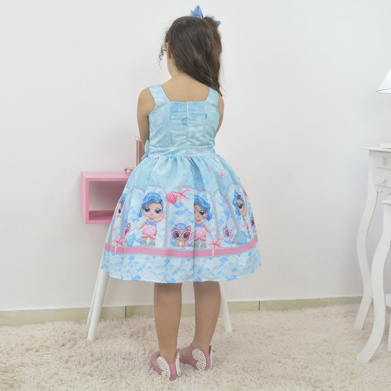 Vestido infantil Lol Sereia - Blue Splash Queen