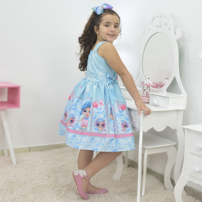Vestido infantil Lol Sereia - Blue Splash Queen