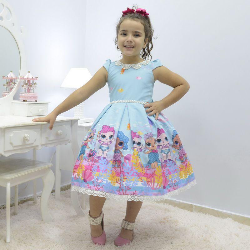 Vestido infantil Lol Sereia - Splash Queen luxuoso