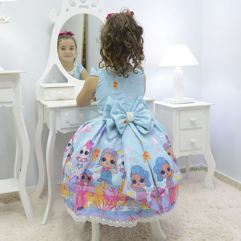 Vestido infantil Lol Sereia - Splash Queen luxuoso