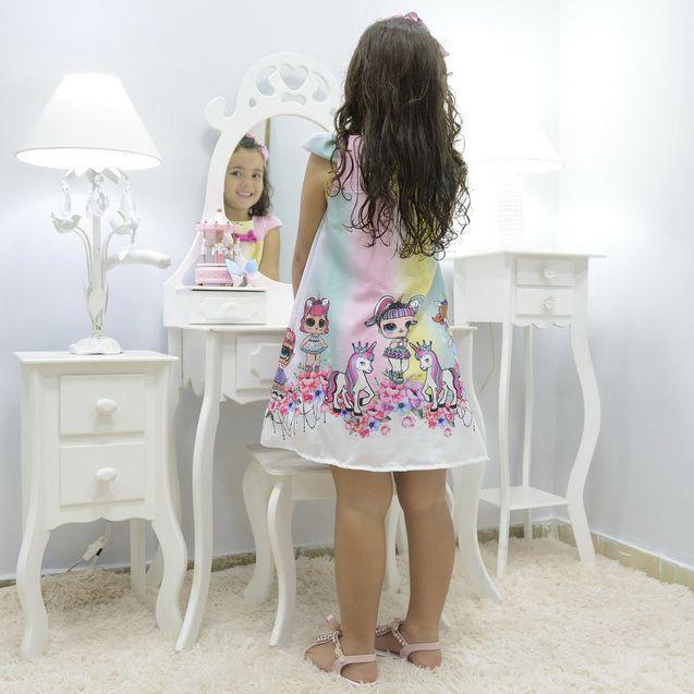 Vestido infantil Lol surprise e unicórnio arco-íris