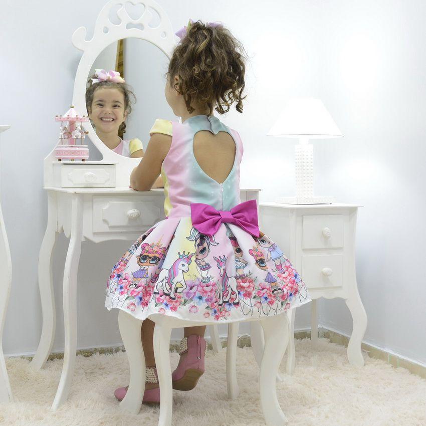 Vestido infantil Lol Surprise unicórnio e arco-íris