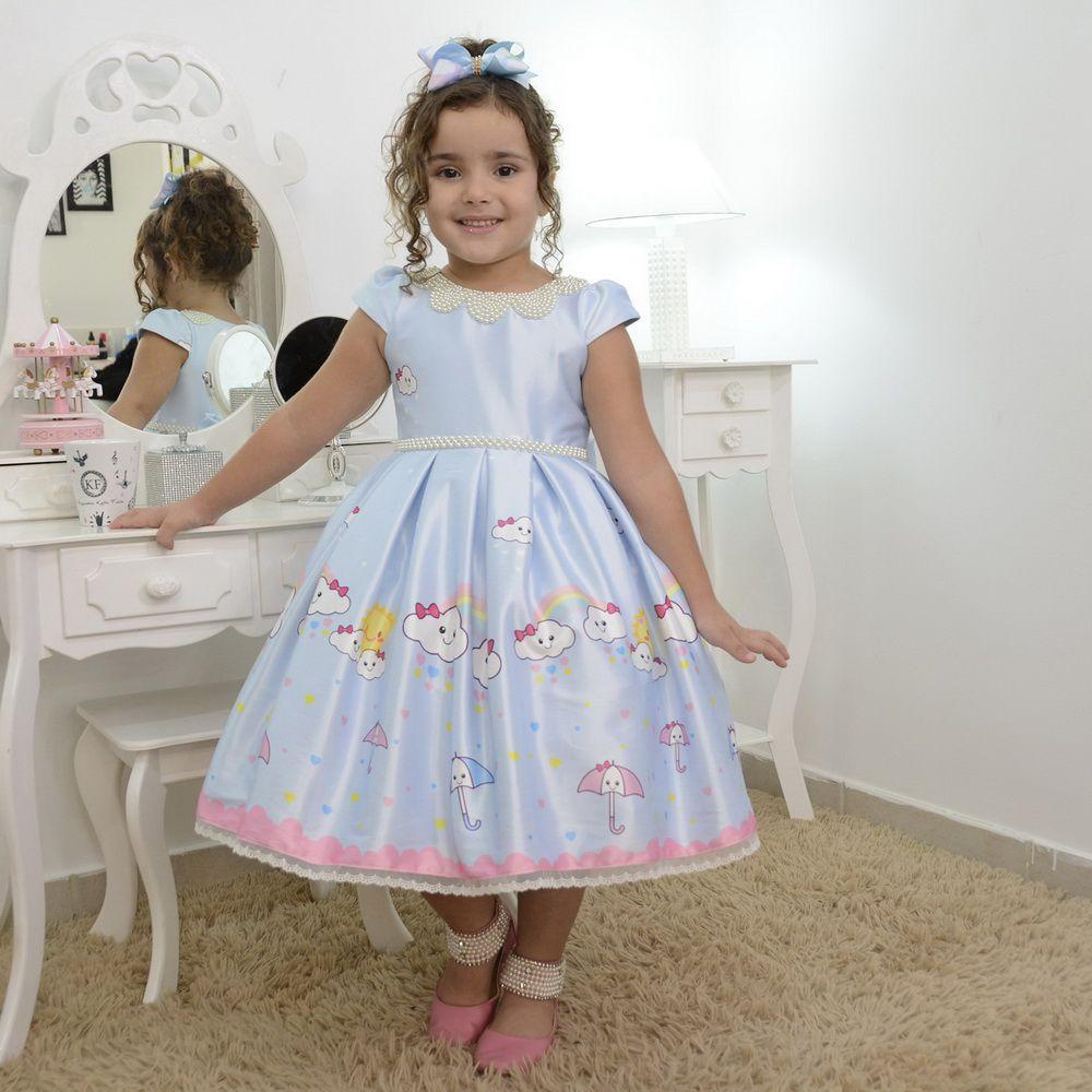 Vestido infantil luxuoso chuva de amor com nuvens e arco-íris