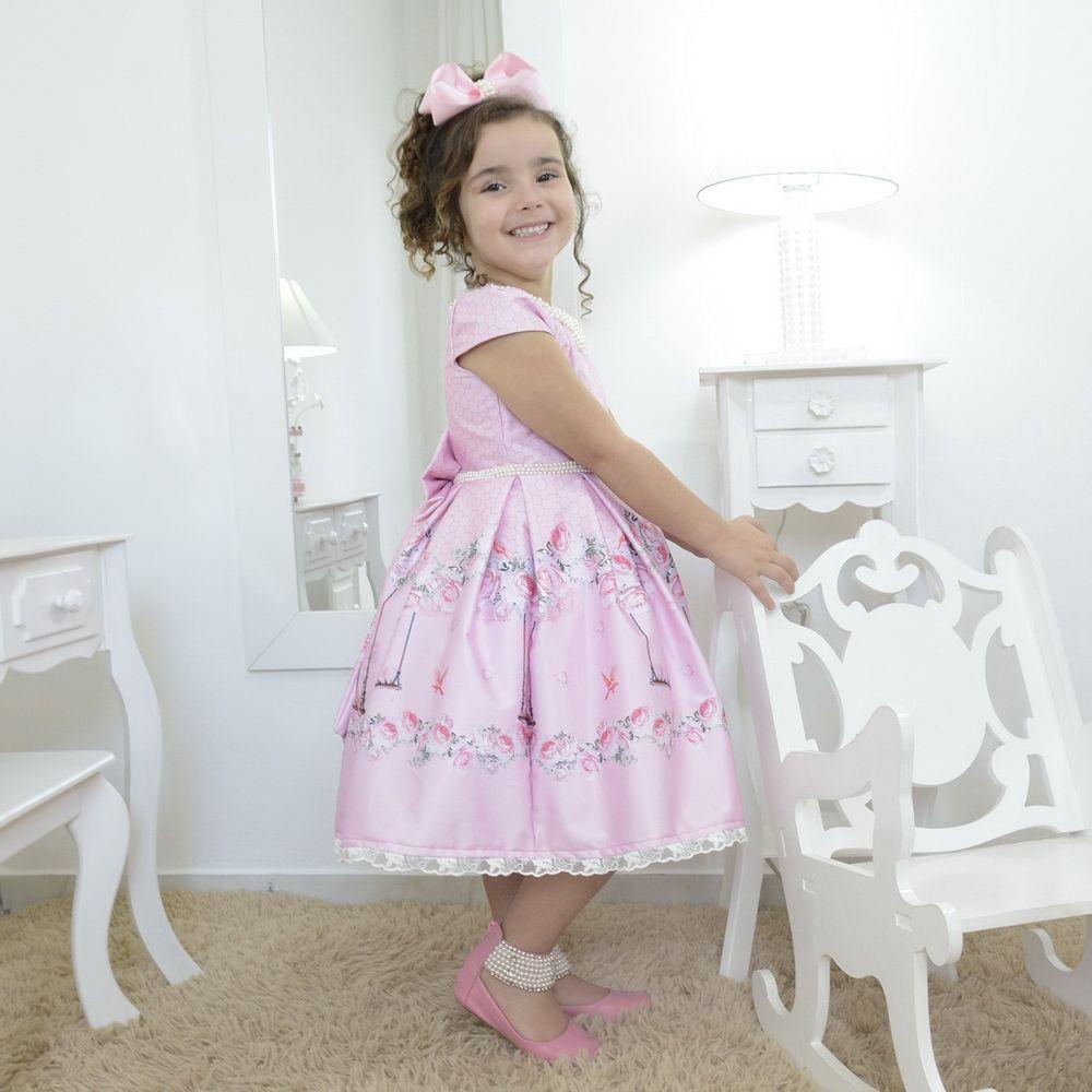 Vestido infantil luxuoso floral e bordados em perolas