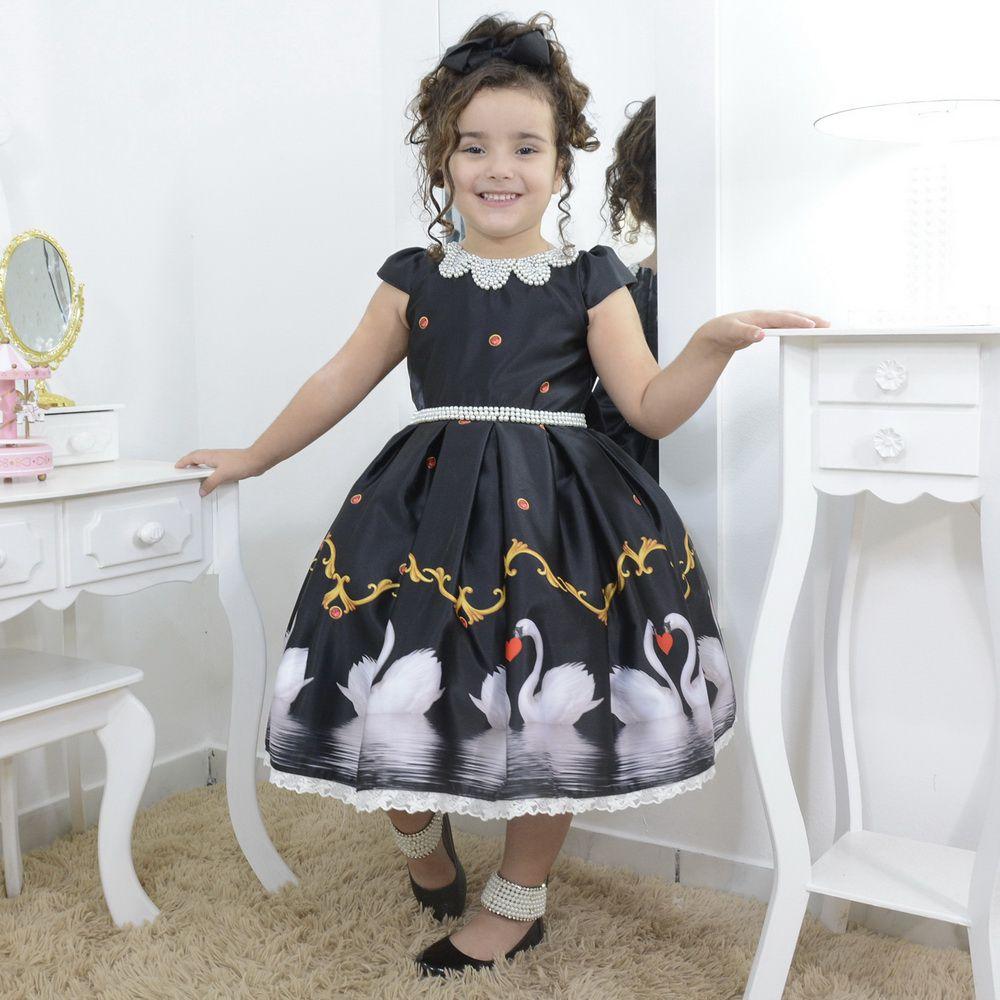 Vestido infantil preto lago dos cisnes com bordados em perolas
