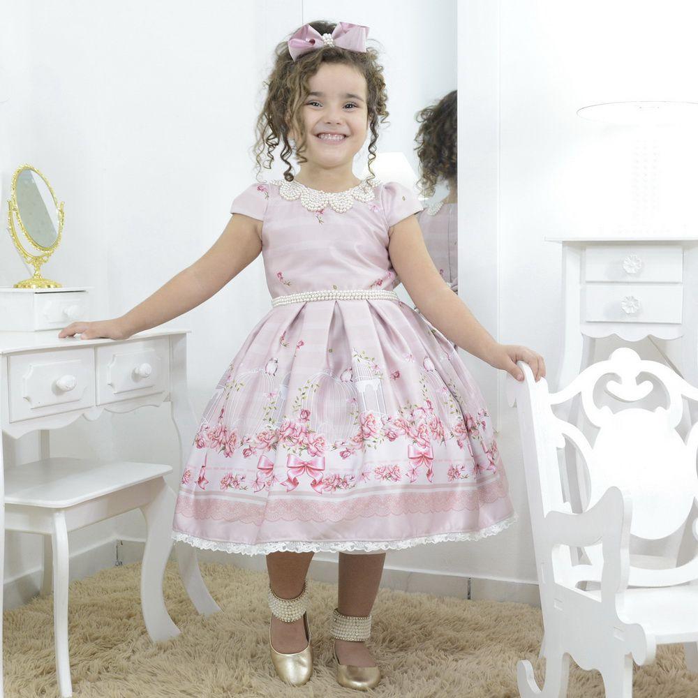 Vestido infantil rosê rosa seco, pássaros e bordados de perolas