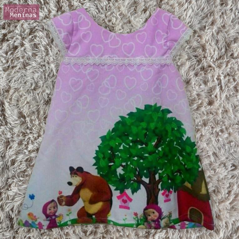 Vestido infantil masha eo urso – tubinho trapézio
