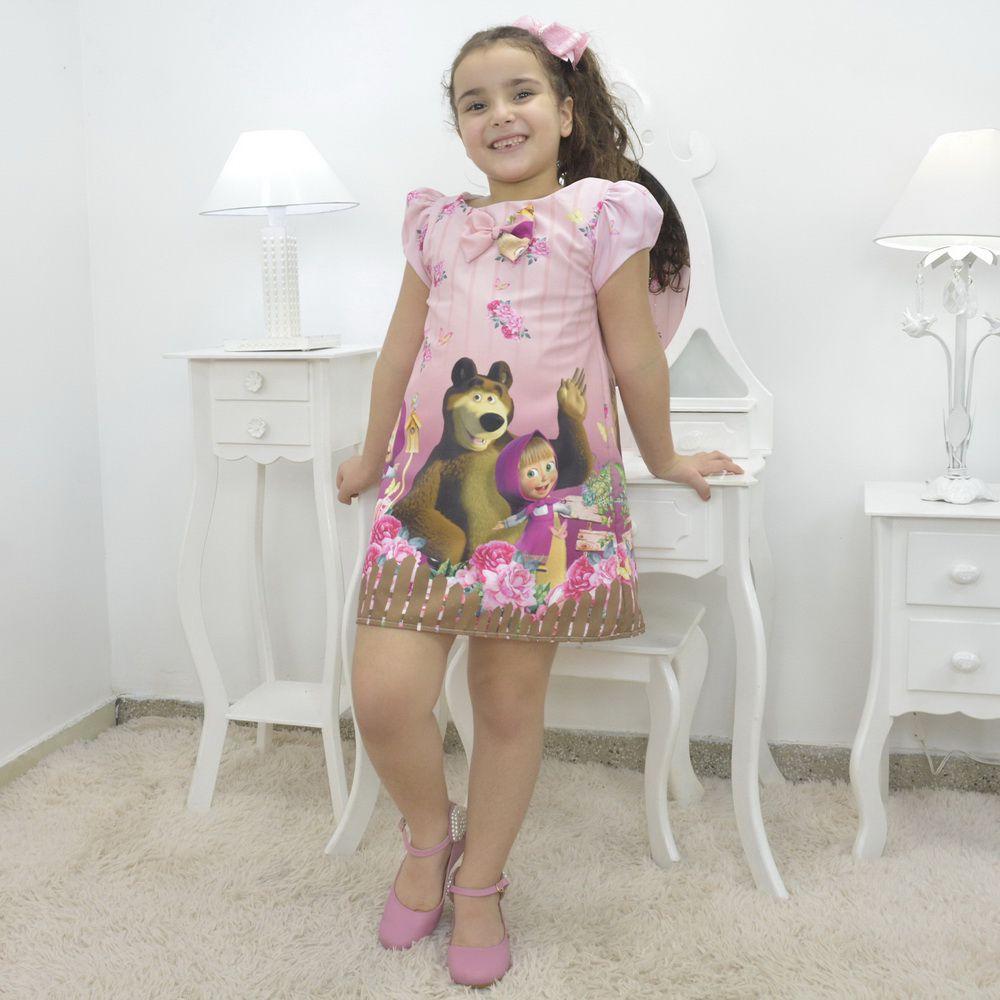 Vestido infantil Menina Masha eo Urso – tubinho trapézio