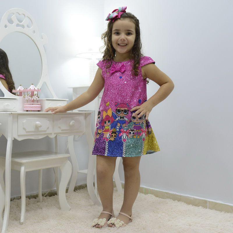 Vestido infantil mínis bonecas Lol surprise glitter confete - fashion